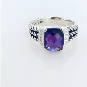 David Yurman Petite Wheaton Amethyst Ring Diamonds